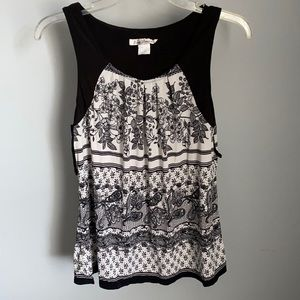 Linea Donatella ladies black and white printed top